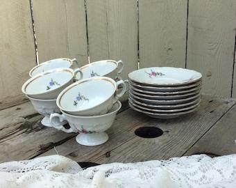 "Vintage Wawel ""Rose Garden"" Cups and Saucers"