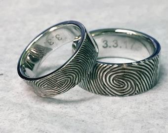 14k Gold  Fingerprint Wedding Bands. Make an impression. Make it unique and one of a kind.
