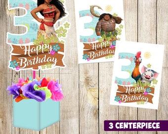 3 Moana centerpieces, Moana printable centerpieces, Moana 3rd party supplies, Moana birthday, decorations, Moana instant download