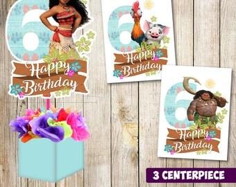 3 Moana centerpieces, Moana printable centerpieces, Moana 6th, Moana party supplies, Moana birthday, Favors, decorations, Moana printable