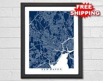 New Haven Map Art - Map Print - Connecticut - Map Print - Home Map - Modern - Birthday - Geography - Custom Map - Housewarming Gift Vacation