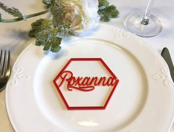 Personalized Place Cards Laser Cut Names Place Settings Laser Cut Hexagon Shape Geometric Wedding Signs Acrylic Hexagon Escort Cards, 3.1""