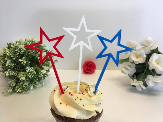 4th July party decor, 4th July Cupcake Picks, American Flags, American Patriotic Stars USA stars, Independence Day Star stick flags 4th July