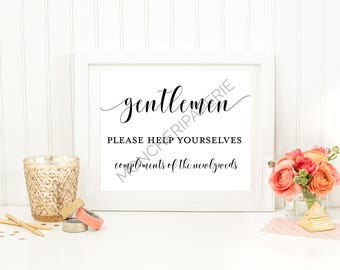 Gentleman Restroom Wedding  Printable Sign. Wedding sign.