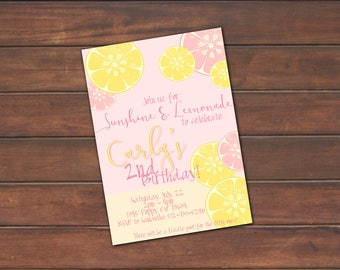 Lemonade Party Invitation, Lemonade Birthday Invitation *DIGITAL FILE* (.jpg or PDF)