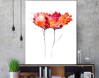 Watercolor red flowers abstract flower red decor flower painting red print floral decor  - 77