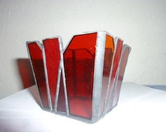 Stained glass candle holder, Stained glass red box,