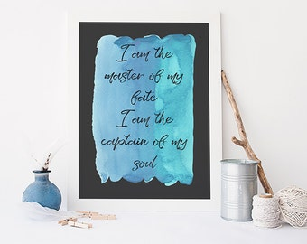 I am the master of my fate print - Invictus poem  - inspirational quote print - motivational poster - watercolour style print - typography
