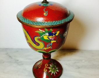Chinese Enamel Cloisonne Red Chalice With Dragon