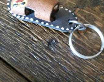 Vintage leather sandal keychain