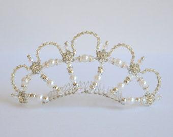 White silver rhinestone handmade crystal tiara, bridal tiara, dancer tiara, prom queen tiara, wedding tiara, hens tiara