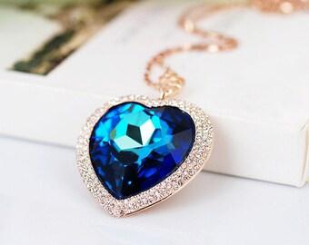 Tanzanite heart pendant necklace,18KGold Platinum Tanzanite,Heart sapphire pendant,Blue Heart Pendant,Sapphire Necklace