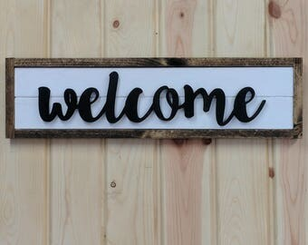 Carved Welcome Sign, WELCOME Sign, Farmhouse Style Welcome Sign