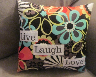 mod home decor, gypsy chic decor, 1960's pop art pillow, bold and brash pillow, bright decor, pillows with sayings,word pillows,dorm pillow