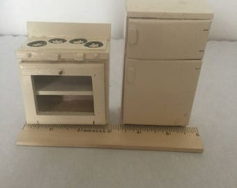 Dollhouse miniature vintage white refrigerator and stove