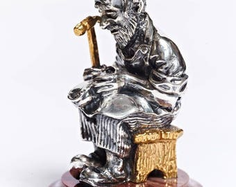 """Silver Figurine """"Jew with a Shoemaker"""""""