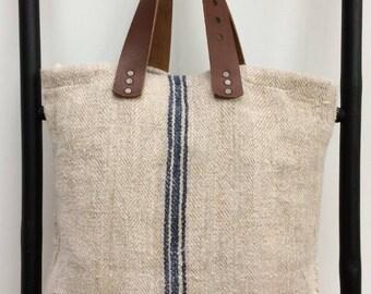 Large Vintage Linen Tote/Shopper Bag with 100% Leather Handles