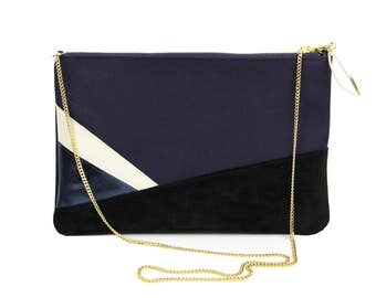 Cotton pouch. Leather clutch