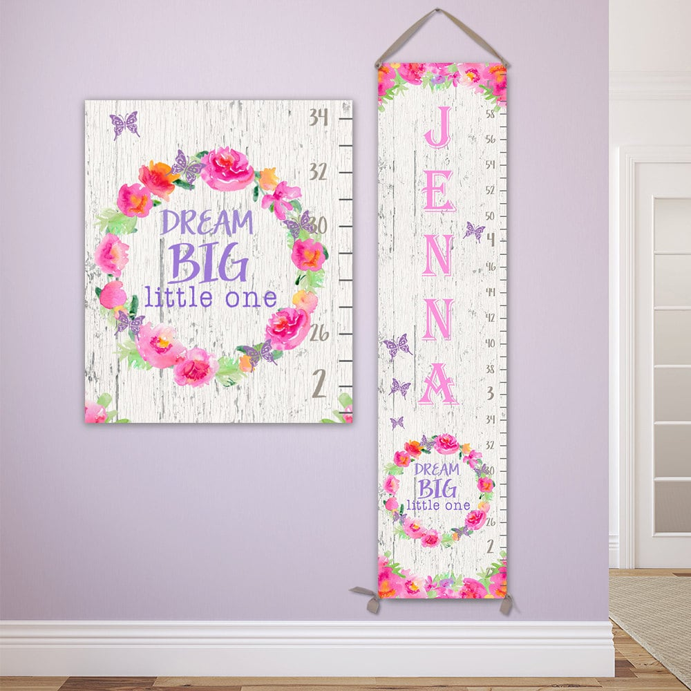 Dream big little one personalized canvas growth chart wooden jolieprints nvjuhfo Gallery