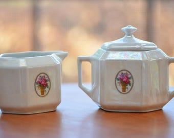 Creamer and Sugar Bowl Set, 3-piece set, Vintage, Antique, Made in Germany