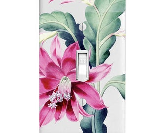 Light Switch Cover-Tropical Flower-Pink Flower- Single Light Switch Plate- Double Light Switch-Wall Decor-Housewarming Gift-Bathroom Decor