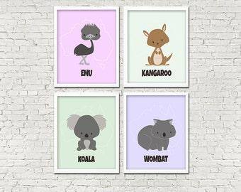 Set of 4 INSTANT PRINTABLE DOWNLOAD Australian Outback Animals Koala Kangaroo Wombat Emu Art Nursery Baby Wall Decor Child Poster Print