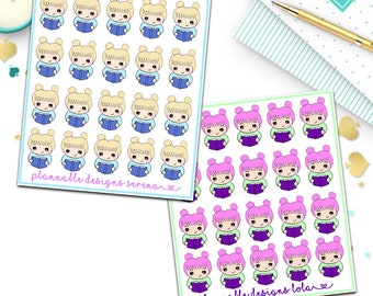 Book reading kawaii hand drawn planner stickers