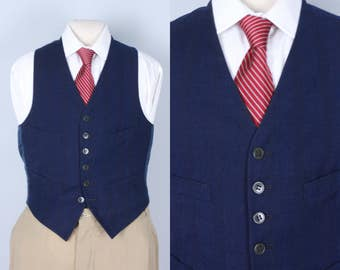 Vintage 1930s Men's Vest | Midnight Blue Wool Vest with Quadruple Red Stripe & Cobalt Windowpane | Size 36