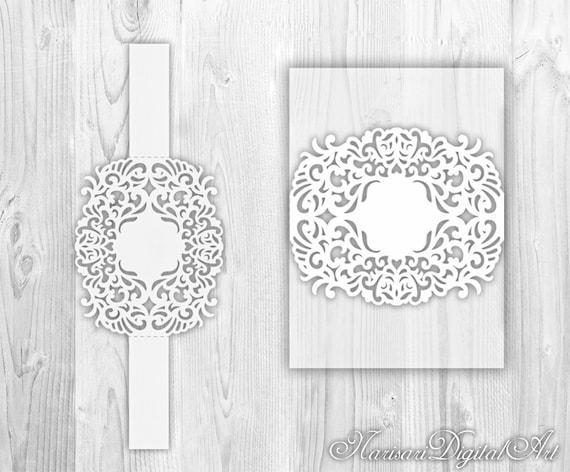 Wedding Invitation Belly Band Laser Cut Template Floral Wreath Monogram Frame Border 5x7 SVG DXF Silhouette Cricut