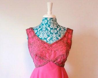 Vintage 1960's dress // Mike Benet pink dress // vtg pink princess 60's formal