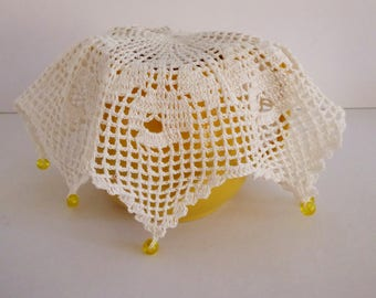 Vintage large ivory crochet jug cover with yellow beads