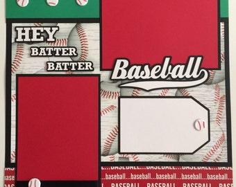 """Premade 12""""x12"""" BASEBALL Scrapbook Layout, Baseball, Sports"""