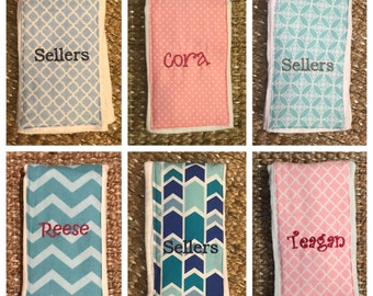 5 Burb Cloths Personalized- Choose fabric!
