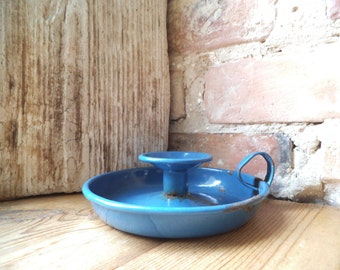 Antique Blue Enamel Candle Stick Holder with Loop Vintage Enamel Candle Holder Vintage French Enamelware Jewelry Dish Photography Props