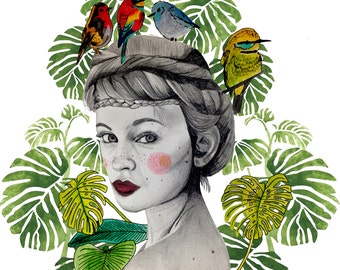 Illustration: Birds nest Print