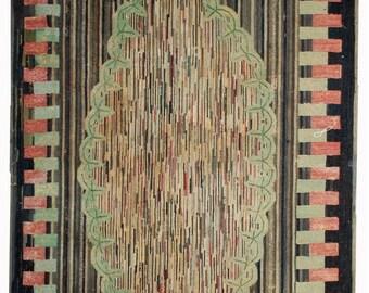 ON SALE 20% Off 4.9' X 7.6' ( 149cm X 231cm) handmade antique geometric American hooked rug 1880