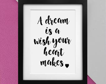"""Disney's Cinderella """"a dream is a wish your heart makes"""" quote print Poster"""