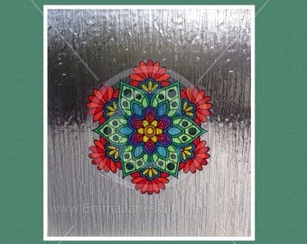 Floral decorative window cling design for glass & window areas, reusable faux stained glass effect decal, static cling suncatcher decals