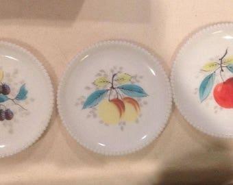 3 Vintage Westmoreland Milk Glass Hand Painted Beaded Plates. ID#14-15
