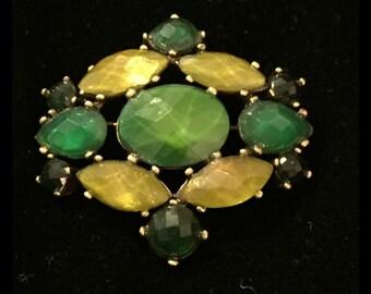 Beautiful Vintage Green Multi Stone Brooch