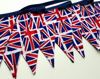 Union Jack Bunting Double Sided Cotton Fabric Flags 2m 1940s Shabby Chic Vintage Style Red White and Blue Decor British Flag Tea Party