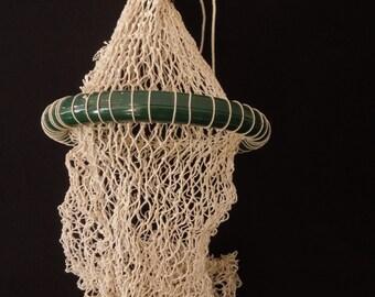 Old Fishing Net Live Fish Keep Green Cotton Net Bag - Vintage Lake Cabin Rustic Decor - Man Cave decoration Repurpose
