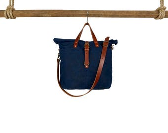 Outland Duffle Bag - Navy, Canvas Duffle, Canvas and leather duffle, luggage, men's bag, women's bag