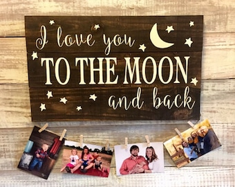 Valentines day gift. I love you to the moon and back, rustic, LOVE, hand painted wood sign, Mother's Day gift, gift for grandma, grandparent