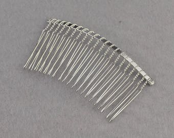 30pcs Silver Metal Hair Combs 20 teeth - Wedding Bridal Accessory,Hair Accessories,DIY Wholesale Metal Hair Comb--75x38mm