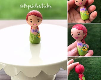 Ariel-Little Mermaid Kokeshi Peg Doll