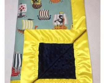 Viking baby blanket, receiving blanket, swaddler, security blanket, minky blanket, Viking bedding, ship blanket