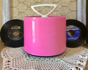 Vintage Hot Pink Disk Go Case with 45's from the 50s, 60s, 70s & 80s - Over 40 records!