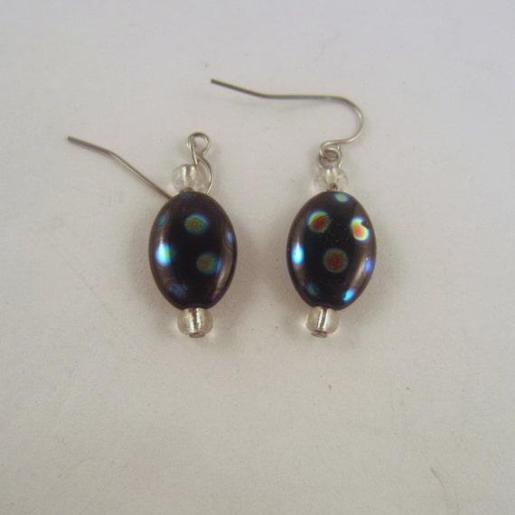 czech glass earrings blue polka dot