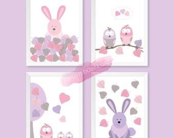 Baby nursery animals, nursery decor animals print, pink baby wall art, nursery wall print, animals nursery printable, baby room art digital.